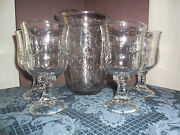 Vintage Andnbspheavy Pitcher And 4 Stem Glasses With 3d Flowers Heavy Clear Glass Euc