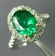 Estate Large 1.94ct Diamond And Aaa Emerald 18kt White Gold 3d Engagement 26503