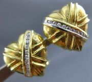 Antique .35ct Diamond 14kt White And Yellow Gold 3d Heart Clip On Earrings 17275