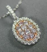 Estate .49ct White And Pink Diamond 14kt White And Rose Gold 3d Cluster Oval Pendant