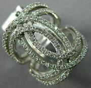 Estate Large .88ct Diamond 14kt White Gold 3d Double Row Love Knot Infinity Ring