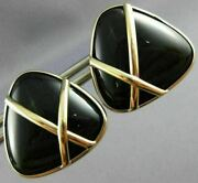 Estate Large Aaa Onyx 14kt Yellow Gold Triangular Trillion Love Earrings 26435