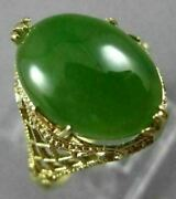 Antique Large Aaa Oval Jade 14kt Yellow Gold 3d Open Filigree Love Ring 26092