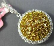Estate Large 1.27ct White And Fancy Yellow Diamond 18k 2 Tone Gold Cluster Pendant