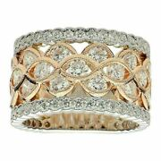Wide 1.95ct Diamond 18kt White And Rose Gold Multi Row Eternity Anniversary Ring