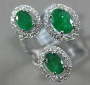 Estate 2.93ct Diamond And Aaa Emerald 14kt White Gold 3d Oval 3 Stone Tension Ring
