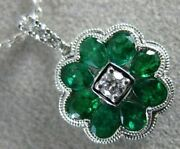 Estate 1.22ct Diamond And Aaa Emerald 18kt White Gold 3d Filigree Floating Pendant