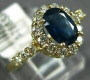 Estate 1.47ct Diamond And Aaa Sapphire 14kt Yellow Gold Oval Halo Engagement Ring