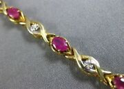 Estate 2.51ct Diamond And Aaa Ruby 14kt Yellow Gold Infinity Love Tennis Bracelet