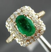Estate 4.32ct Diamond And Aaa Emerald 14kt Yellow Gold Double Halo Engagement Ring