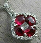 Estate 2.10ct Diamond And Aaa Ruby 18kt White Gold Square Flower Floating Pendant