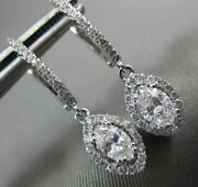 Estate .98ct Round And Marquise Diamond 14kt White Gold 3d Halo Hanging Earrings