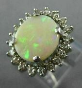 Antique Large 3.66ct Old Mine Diamond And Aaa Opal 14kt White Gold Oval Halo Ring