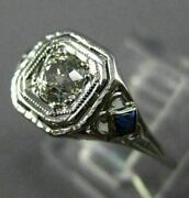 Antique .53ct Diamond And Aaa Sapphire 18k White Gold Square Engagement Ring 26026