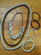 Costume Jewelry Lot Some Pearl Mixture Of Necklaces, Bracelets And Earriings