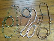 Costume Jewelry Pearl Lot Mixture Of Necklaces, Bracelets And Earirngs