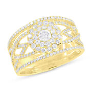 0.91ct 14k Yellow Gold Natural Round Cut Diamond Cluster Halo Open Cocktail Ring