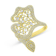 Unique 14k Yellow Gold Natural Round Diamond Cocktail Right Hand Fancy Ring