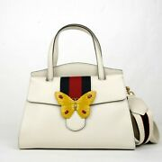 3490 Ivory Leather Butterfly Totem Medium Top Handle Bag 505344 9674