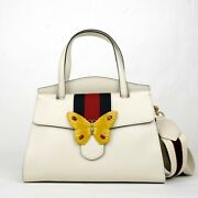3490 Ivory Leather Butterfly Totem Medium Top Handle Bag S 505344 9674