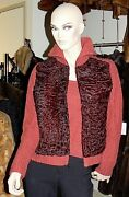 Tse Red Clay Cashmere And Swakara Fur Cardigan Sweater Jacket L 3,500+ New