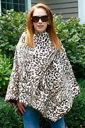 Cassin Leopard Print Fur Poncho Fully Unzips To Form A Huge Cape Wrap Nwt