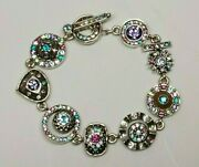 Patricia Locke 8 Bracelet Silver Tone Water Lily Story Crystals Nwot