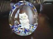 1985 Gibson Art Glass Sulfide Owl Paperweight Large 3.25 Tall X 3