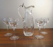 800 Silver And Cut Crystal Wine Decanter And 4 Glasses Beautiful And Elegant