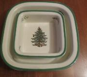 2 New Nos Spode Christmas Tree Oven To Table Casseroles Bakers Made England