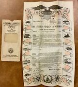 1959 United States Government Life Insurance Policy Colorful Vignettes Air Sea