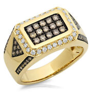Mens 1.02ct 14k Yellow Gold Natural Champagne White Diamond Cocktail Class Ring