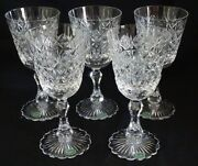 Stuart England Connaught Set Of 5 Cut Glass Water Goblets 7 3/4