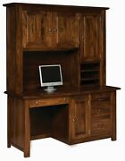 Amish Executive Computer Desk Hutch Transitional Solid Wood File Drawers 64
