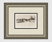 1800s James Whistler Etching Chelsea Church And Battersea Bridge Signed Framed Coa