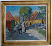 Animated Village Street In Sunshine, Middle 20. Jh Signed Hard Readable Oil A