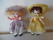 Pr 1940's S And E Hard Plastic Dolls W/moveable Arms W/orig Dresses And Hats And Cases