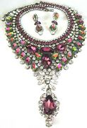 Thorin And Co Fabulous Vibrant Watermelon Crystal Statement Necklace Earring Set