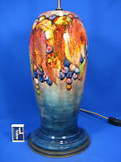 Rare William Moorcroft Pottery Table Lamp Leaves And Berries Tisch Lampe