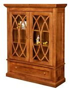 Amish Transitional Solid Wood Bookcase Glass Doors Drawer Office Furniture