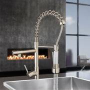 Brushed Nickel Kitchen Faucet Swivel Spout 1 Hole Sink Pull Down Spray Mixer Tap
