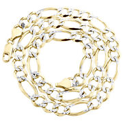 10k Yellow Gold Solid Diamond Cut Figaro Chain 9mm Necklace 22 - 30 Inches