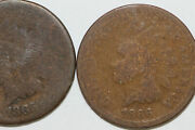 About Good 1865 And Good 1866 Lot Of Two Indian Head Small Cent Coins Num3988