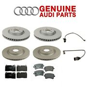 For Audi S4 S5 Front And Rear Vented Brake Disc Rotors And Pads And Sensor Kit Genuine