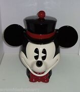 Disney Mickey Mouse Cookie Jar Pie Eyed Top Hat Bow Tie Enesco Rare New