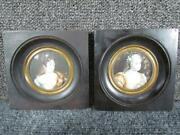 Pair Of Antique European Continental Miniature Paintings,greco Roman Old Master