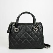 Black Leather Diamond Quilted Small Chain Tote Bag With Antique Hardware