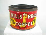 Vintage Hills Bros Brothers Coffee Can Tin 1 Lb. 7andcent Off Red Can Brand No Lid Key