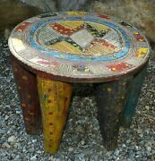 Antique African Nupe Tribe Carved Round Wood Stool Hand Painted Nigeria Africa