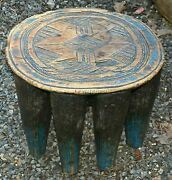 Antique African Nupe Tribe Carved Round Blue Painted Wood Stool Nigeria Africa